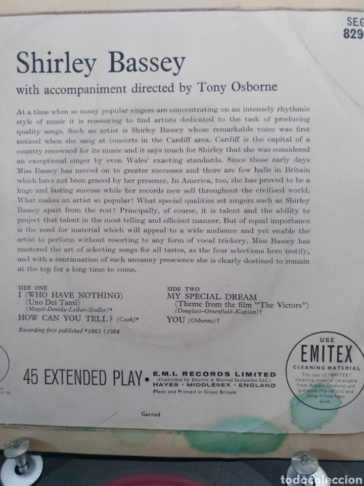 Discos de vinilo: SHIRLEY BASSEY ** I WHO HAVE NOTHING * HOW CAN YOU TELL * MY SPECIAL DREAM * YOU ** - Foto 2 - 267816689