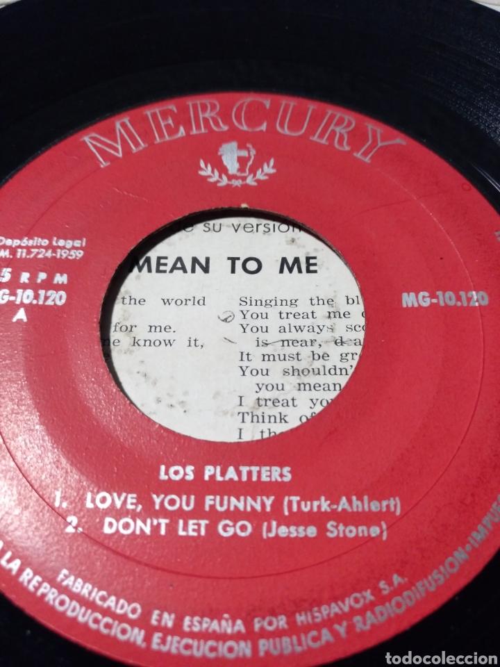 Discos de vinilo: LOS PLATTERS ** LOVE YOU FUNNY THING * DONT LET GO * ITS RAINING OUTSIDE * MEAN TO ME ** - Foto 4 - 267824194