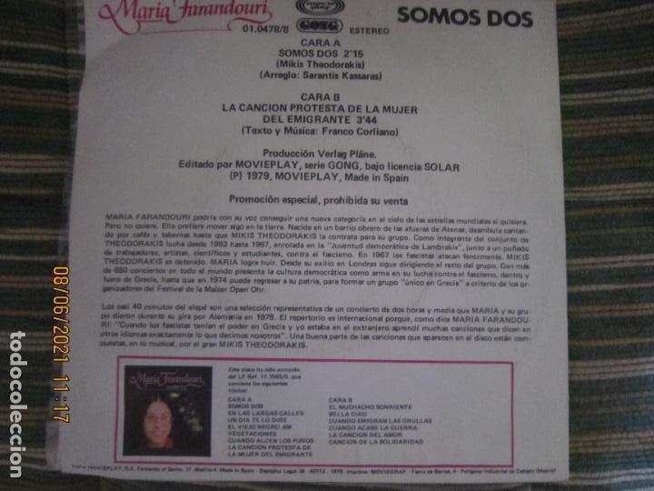 Discos de vinilo: MARIA FARANDOURI - SOMOS DOS SINGLE PROMO ORIGINAL ESPAÑOL MOVIEPLAY 1979 MUY NUEVO (5) - Foto 2 - 267909439