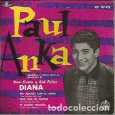 Discos de vinilo: PAUL ANKA – DIANA + 3 TEMAS - EP SPAIN 1959. Lote 267689509