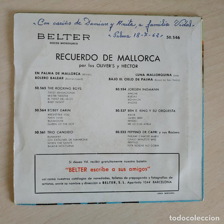 Discos de vinilo: LOS OLIVERS Y HECTOR - RECUERDO DE MALLORCA - RARO EP BELTER DE 1962 SPAIN BUEN ESTADO - Foto 2 - 268115104