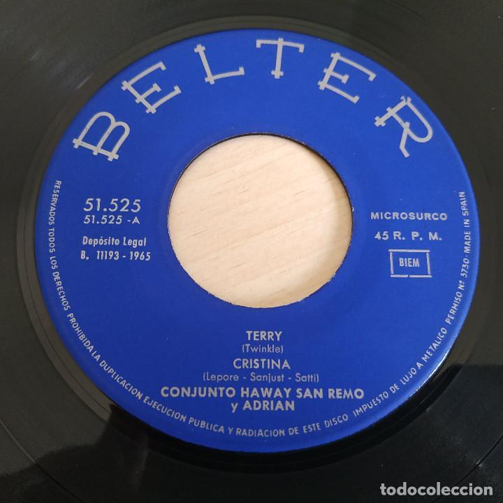 Discos de vinilo: LOS HAWAY, SAN REMO Y ADRIAN - TERRY + 3 - RARO EP BELTER SPAIN 1965 (NEAR MINT / VG+) - Foto 3 - 268133919
