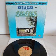 Discos de vinilo: BEE GEES / HE'S A LIAR / SPECIAL MAXI VERSIÓN / MAXI SG-RSO-1981 / MBC. ***/***. Lote 268145404