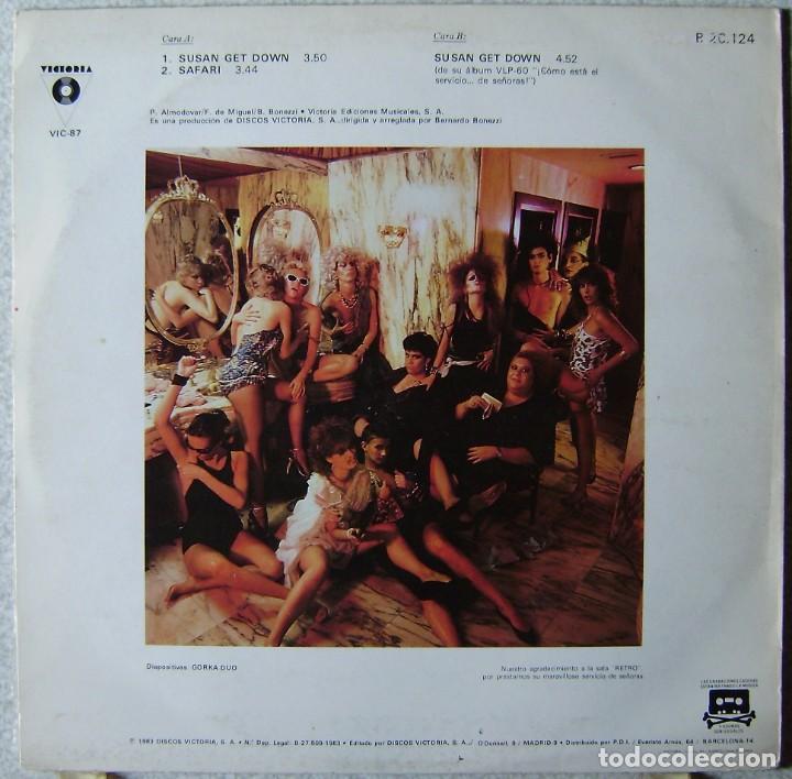 Discos de vinilo: ALMODOVAR Y McNAMARA.SUSAN GET DOWN-SAFARI.MAXI..EX...1ª EDICION 1983 - Foto 2 - 268152814
