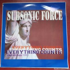 Discos de vinilo: MAXI LP SUBSONIC FORCE EVERYTHING COUNTS RAVE REMIXES 1995 (NEW ORDER). Lote 268450029