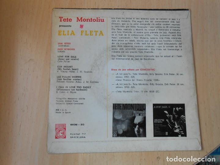 Discos de vinilo: TETE MONTOLIU presenta ELIA FLETA, EP, LOVE FOR SALE + 3, AÑO 1966 - Foto 2 - 268571519