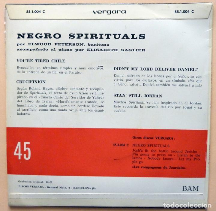 Discos de vinilo: ELWOOD PETERSON: NEGRO SPIRITUALS - EP -1963 - VERGARA - MUY BUENO (VG+/VG+) - Foto 2 - 268611414