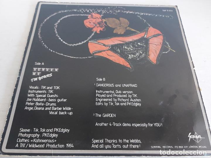 Discos de vinilo: TIK AND TOK / SCREEN ME IM YOURS / MAXI SG-SURVIVAL RECORDS-1984 / MBC. ***/*** - Foto 2 - 268615699