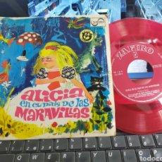 Discos de vinilo: ALICIA EN EL PAÍS DE LAS MARAVILLAS SINGLE CUENTO LUIS FERRER 1967. Lote 268733774