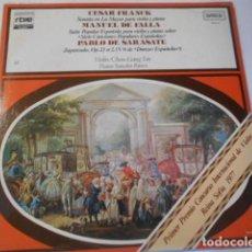 Discos de vinilo: LP---CESAR FRANCK--MANUEL DE FALLA--PABLO DE SRASATE----NUEVO PRECINTADO. Lote 268750324