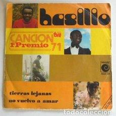 Discos de vinilo: BASILIO TIERRAS LEJANAS - DISCO DE VINILO 45 RPM - CANTANTE PANAMEÑO AÑOS 70 - PREMIO TVE CANCIÓN 71. Lote 268808759