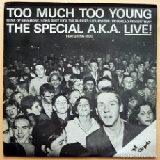 Discos de vinilo: THE SPECIALS: (THE SPECIAL A.K.A. LIVE) TOO MUCH TOO YOUNG + 4 - EP - 1980 - ARIOLA- NUEVO (NM / NM). Lote 268819674