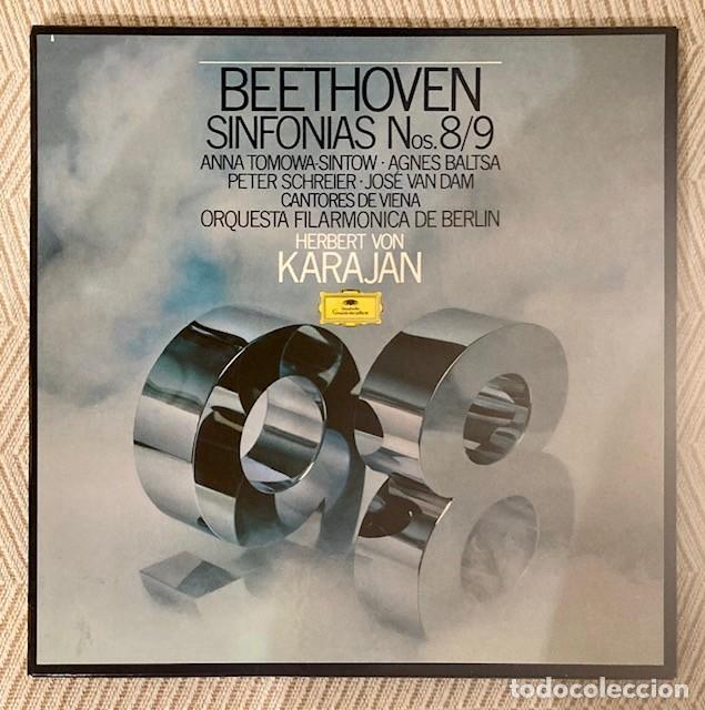 KARAJAN - BEETHOVEN - SINFONÍAS 8 Y 9 - AGNES BALTSA - FILARMÓNICA DE BERLÍN - CAJA 2 LPS (Música - Discos - LP Vinilo - Clásica, Ópera, Zarzuela y Marchas)
