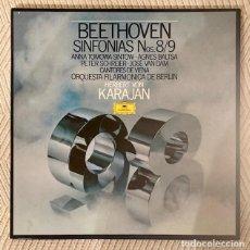 Discos de vinilo: KARAJAN - BEETHOVEN - SINFONÍAS 8 Y 9 - AGNES BALTSA - FILARMÓNICA DE BERLÍN - CAJA 2 LPS. Lote 268872694