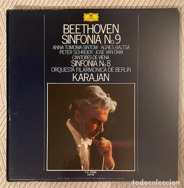 Discos de vinilo: KARAJAN - BEETHOVEN - SINFONÍAS 8 Y 9 - AGNES BALTSA - FILARMÓNICA DE BERLÍN - CAJA 2 LPS - Foto 3 - 268872694