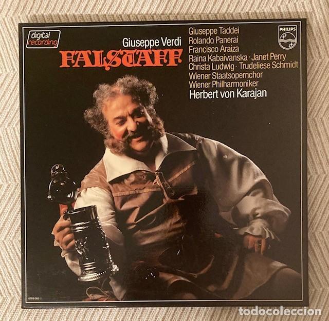 FALSTAFF - VERDI - KARAJAN - CAJA CON 3 LPS + LIBRETO DE 72 PÁGINAS (Música - Discos - LP Vinilo - Clásica, Ópera, Zarzuela y Marchas)
