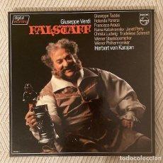 Discos de vinilo: FALSTAFF - VERDI - KARAJAN - CAJA CON 3 LPS + LIBRETO DE 72 PÁGINAS. Lote 268873534