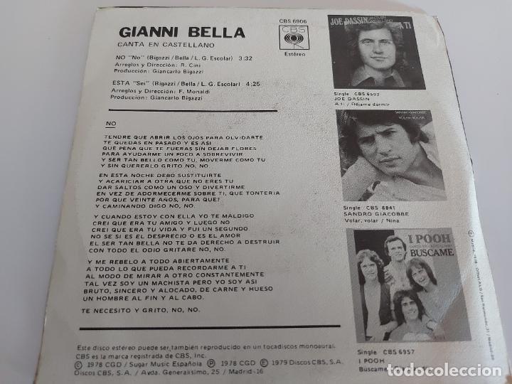Discos de vinilo: GIANNI BELLA CANTA EN CASTELLANO / NO-ESTA / SINGLE-CBS-1979 / MBC. ***/*** - Foto 2 - 268876339