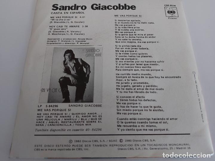 Discos de vinilo: SANDRO GIACOBBE / ME VAS PORQUE SI / SINGLE-CBS-1980 / MBC. ***/***CARTA DE PRESENTACIÓN. - Foto 2 - 268877024