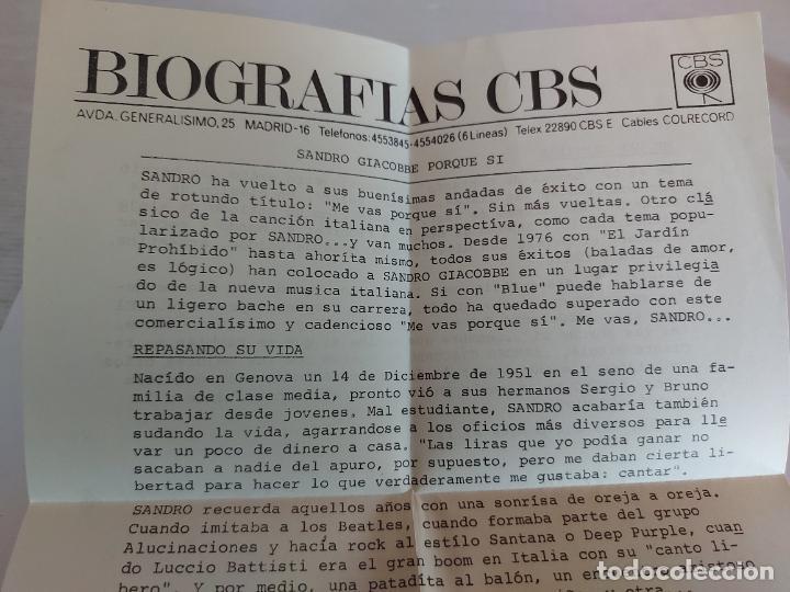 Discos de vinilo: SANDRO GIACOBBE / ME VAS PORQUE SI / SINGLE-CBS-1980 / MBC. ***/***CARTA DE PRESENTACIÓN. - Foto 3 - 268877024