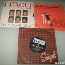Discos de vinilo: HUMAN LEAGUE - LOTE DE 3 VINILOS SINGLES - EDICIONES EUROPEAS. Lote 268889869