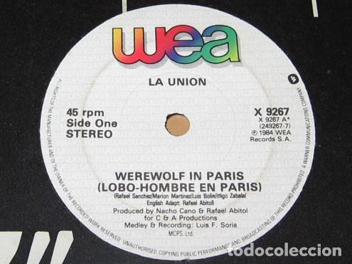 Discos de vinilo: LA UNION - WEREWOLF A PARIS - LOBO HOMBRE EN PARIS (VERSION EN INGLES) - SINGLE - 1984 ¡MUY BUSCADO! - Foto 2 - 231906420