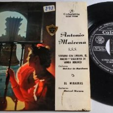 Discos de vinilo: SINGLE ANTONIO MAIRENA. SERRANA CON LIVIANA, EL MACHO Y SEGUERIYA DE MARÍA BORRICO, EL MIRABRAS.1967. Lote 268909359