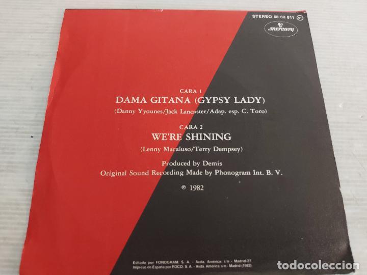 Discos de vinilo: DEMIS ROUSSOS / DAMA GITANA / SINGLE-MERCURY-1982 / MBC. ***/*** - Foto 2 - 268932074