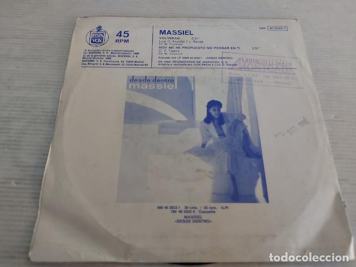 Discos de vinilo: MASSIEL / VOLVERÁN / SINGLE - HISPAVOX-1986 / MBC. ***/*** - Foto 2 - 268935804
