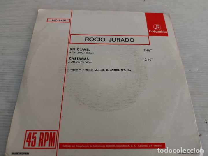 Discos de vinilo: ROCÍO JURADO / UN CLAVEL-CASTAÑAS / SINGLE - COLUMBIA-1974 / MBC. ***/*** - Foto 2 - 268963879