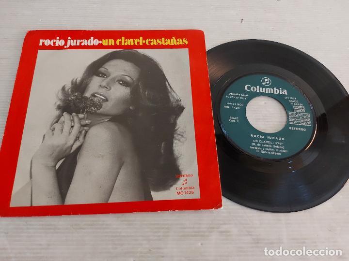 ROCÍO JURADO / UN CLAVEL-CASTAÑAS / SINGLE - COLUMBIA-1974 / MBC. ***/*** (Música - Discos - Singles Vinilo - Flamenco, Canción española y Cuplé)