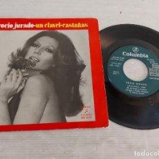Discos de vinilo: ROCÍO JURADO / UN CLAVEL-CASTAÑAS / SINGLE - COLUMBIA-1974 / MBC. ***/***. Lote 268963879