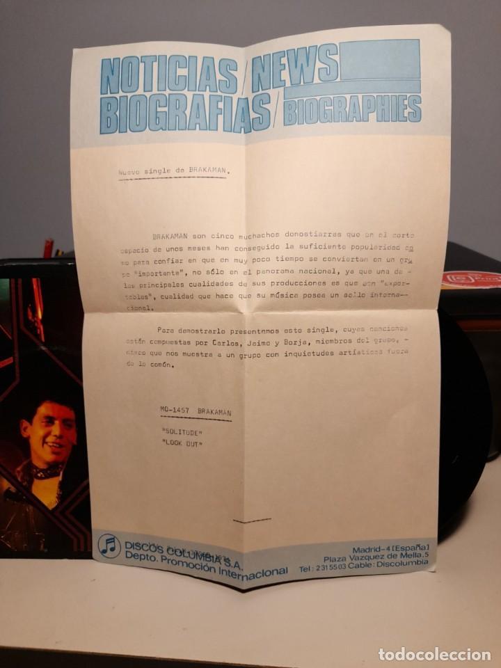 Discos de vinilo: SG BRAKAMAN : SOLITUDE ( PROMO LABEL BLANCO, INCLUYE HOJA PROMOCIONAL ) - Foto 3 - 268974464