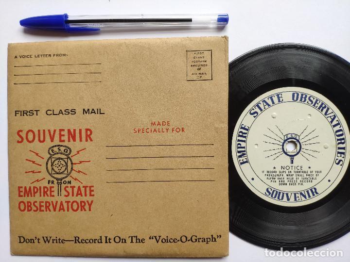 ORIG. EMPIRE STATE OBSERVATORIES SOUVENIR * USA * GRABACION DE RECUERDO DE 1946 (Música - Discos de Vinilo - EPs - Bandas Sonoras y Actores)