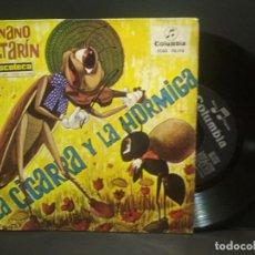 Discos de vinilo: SINGLE CON LOS CUENTOS INFANTILES LA CIGARRA Y LA HORMIGA/EL ENANO SALTARIN AÑOS 60 PEPETO. Lote 268995084