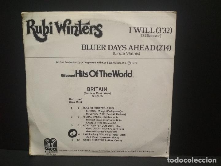 Discos de vinilo: RUBI WINTERS - I WILL (SAUCE) SINGLE ESPAÑA 1978 PEPETO - Foto 2 - 269002334