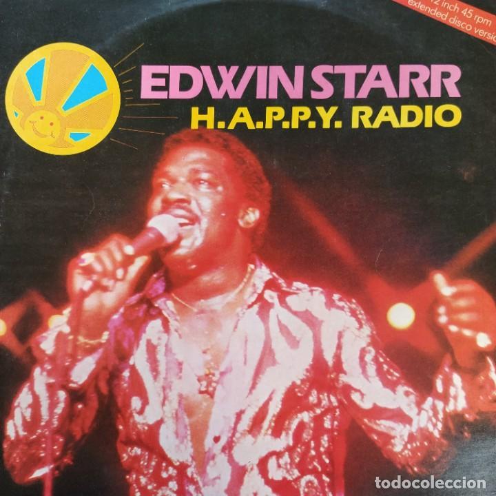 """EDWIN STARR - H.A.P.P.Y. RADIO (EXTENDED DISCO VERSION) (12"""", ROJO) (1979/UK) (Música - Discos de Vinilo - Maxi Singles - Funk, Soul y Black Music)"""