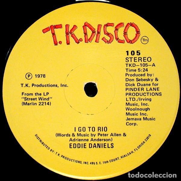 """Discos de vinilo: Eddie Daniels - I Go To Rio / One Night With You (12"""") Sello:T.K. Disco Cat. nº: 105 Estado del sopo - Foto 3 - 269037409"""