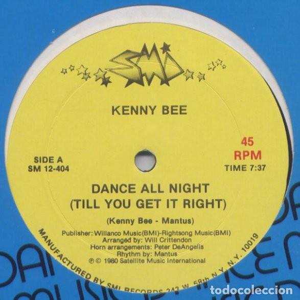 "Discos de vinilo: Kenny Bee - Dance All Night (Till You Get It Right) (12"") (1980/US) - Foto 2 - 269037598"