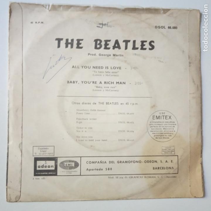 Discos de vinilo: THE BEATLES - ALL YOU NEED IS LOVE- (SIN TEXTO)- SPAIN SINGLE 1967. - Foto 2 - 269051798