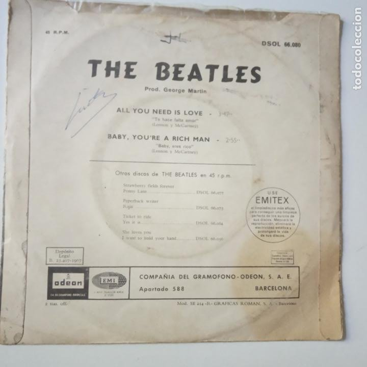 Discos de vinilo: THE BEATLES - ALL YOU NEED IS LOVE- (SIN TEXTO)- SPAIN SINGLE 1967. - Foto 3 - 269051798