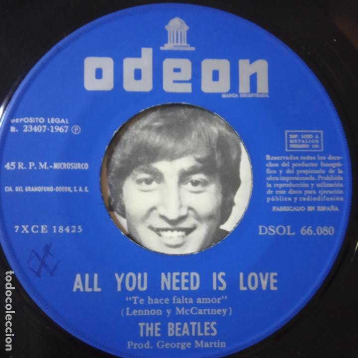 Discos de vinilo: THE BEATLES - ALL YOU NEED IS LOVE- (SIN TEXTO)- SPAIN SINGLE 1967. - Foto 4 - 269051798