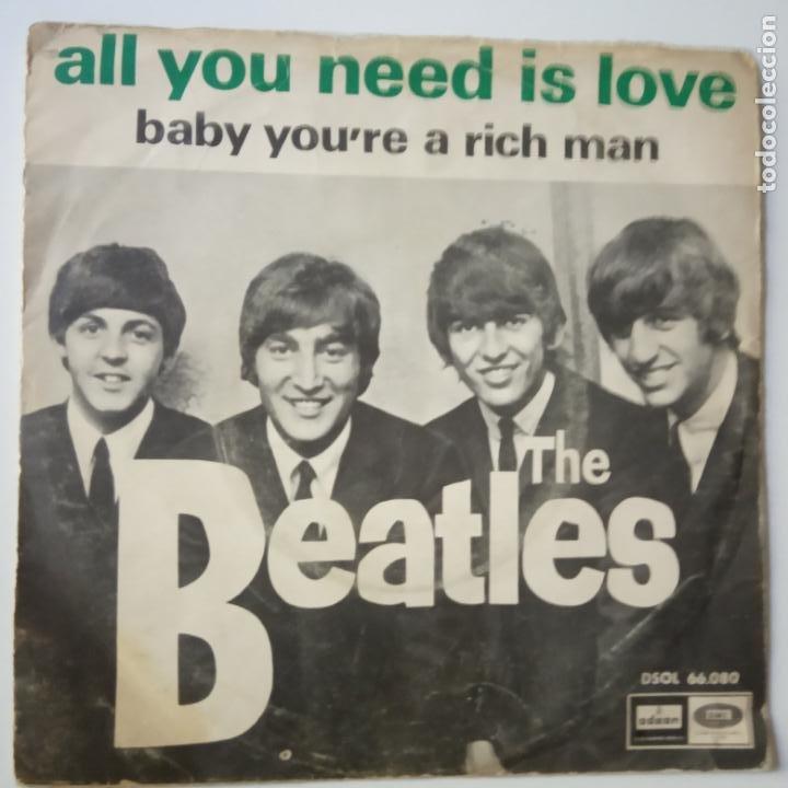 THE BEATLES - ALL YOU NEED IS LOVE- (SIN TEXTO)- SPAIN SINGLE 1967. (Música - Discos - Singles Vinilo - Pop - Rock Internacional de los 50 y 60)
