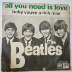Discos de vinilo: THE BEATLES - ALL YOU NEED IS LOVE- (SIN TEXTO)- SPAIN SINGLE 1967.. Lote 269051798
