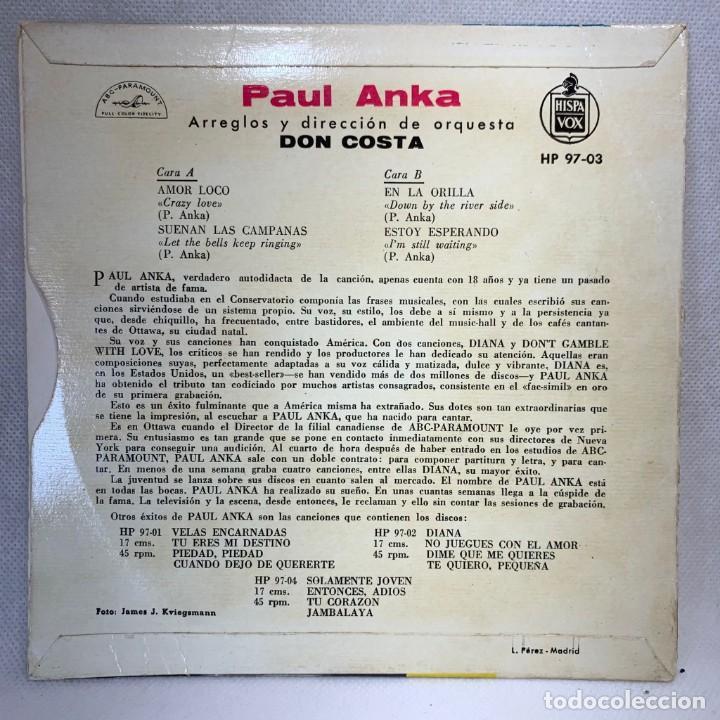 Discos de vinilo: SINGLE PAUL ANKA - AMOR LOCO - ESPAÑA - AÑO 1959 - Foto 4 - 269059038