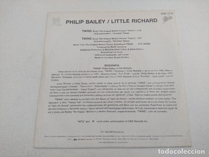 Discos de vinilo: SINGLE/PHILIP BAILEY-LITTLE RICHARD/TWINS/PROMOCIONAL. - Foto 3 - 269247453