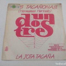 Discos de vinilo: SINGLE/UN,DOS,TRES/LAS TACAÑONAS-HERMANAS HURTADO/PROMOCIONAL.. Lote 269252688