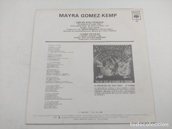 Discos de vinilo: SINGLE/UN,DOS,TRES/MAYRA GOMEZ KEMP/PROMOCIONAL. - Foto 3 - 269253003