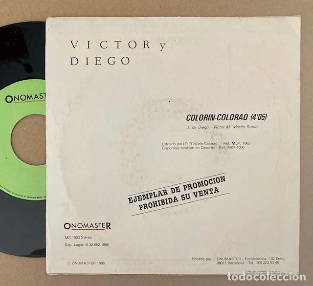Discos de vinilo: VÍCTOR Y DIEGO - COLORÍN COLORAO - SINGLE PROMO (Grabado por una sola cara) - Foto 2 - 269296483