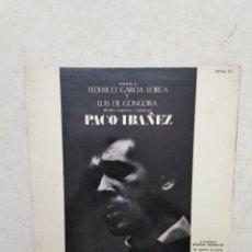 Discos de vinilo: PACO IBAÑEZ POEMAS DE FEDERICO GARCÍA LORCA Y LUIS DE GONGORA LP VINILO. Lote 269494988